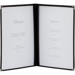 Amerikanische Speisenkarte A4 Kunstleder 4 Fenster schwarz, Ecken silber