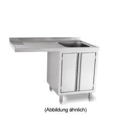 Spülcenterschrank für Spülmaschinen mit 50 mm Aufkantung Türen 1 Becken re.