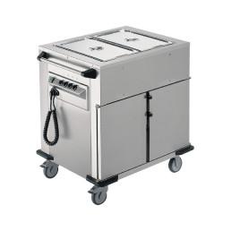 Speisenausgabewagen 2 Fächer je 8 Einschübe / beheizt / mit Warmhaltebecken