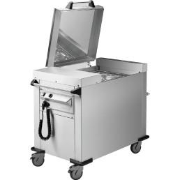 Menüschalenstapler fahrbar / Umluft beheizt / 535 x 660 mm / Stapelhöhe 600 mm